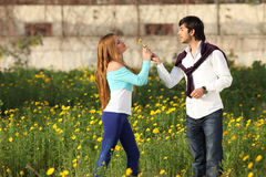 Young Couple Standing In Meadow Stock Images