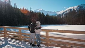 Young Couple is Standing near Mountain Lake in Winter Looking at Landskape. Young Happy Couple is Standing near Mountain Lake in Sunny and Snowy Winter Looking stock footage