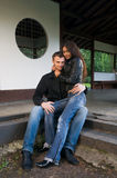 Young couple on the steps Stock Photo