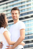 Young couple stood outside Stock Photography