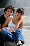 The young couple in the street Stock Photo