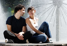 The young couple in the street Stock Photos
