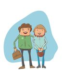 � young couple on the street. A young couple on the street - vector cartoon illustration. This file needs an EPS 10 or later compatible software Royalty Free Stock Photography