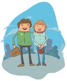 � young couple on the street. Vector cartoon illustration. This file needs an EPS10 or later compatible software Royalty Free Stock Photo