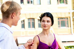 Young couple on street Royalty Free Stock Photo