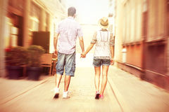 Young couple strolling about the city Royalty Free Stock Image