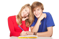 Young couple students studying with clipboard Stock Images
