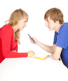 Young couple students studying together Royalty Free Stock Photography