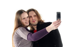 Young couple in studio Royalty Free Stock Image