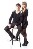 The young couple in studio Stock Images