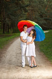 Young couple in the summer rain Stock Photo