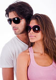 Young couple with sunglasses stock images