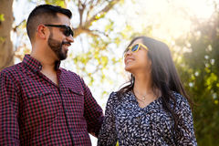 Young couple with sunglasses stock photography