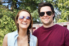 Young couple with sunglasses Royalty Free Stock Photos