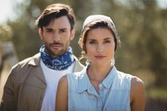 Young couple on sunny day at olive farm. Portrait of young couple on sunny day at olive farm Stock Photography