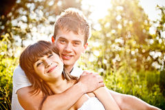 Young couple in sunset Royalty Free Stock Photo