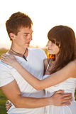 Young couple in sunset Royalty Free Stock Images