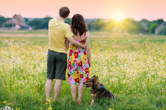 Young couple at sunset Stock Image