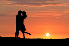 Young Couple Sunset Silhouette Royalty Free Stock Photo