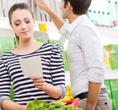 Young couple at supermarket Stock Image
