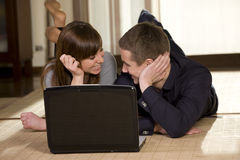 Young couple surfing the net Stock Photos