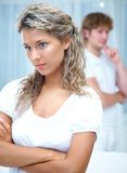 Young couple swears together Royalty Free Stock Photography