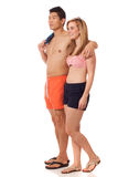 Young Couple in Swimwear Stock Photo