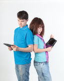 A young couple with a Tablet PC Stock Photo