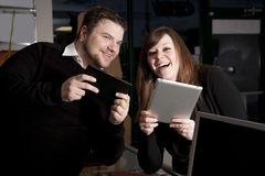 Young Couple With Tablets  Stock Photos