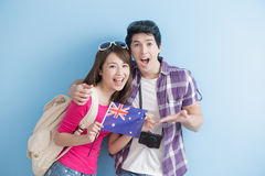 Young couple take australian flag Royalty Free Stock Images