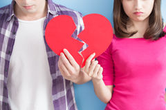 Young couple take broken heart Royalty Free Stock Images