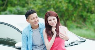Young couple take a selfie stock image