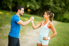 Young couple taking exercise Royalty Free Stock Photo