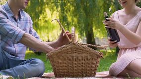 Young couple taking out wine glasses and bottle from picnic basket, anniversary. Stock footage stock video