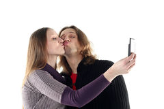 Young couple taking photo Royalty Free Stock Photography