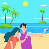 Young couple taking self portrait at the beach.Flat Summer Background design. Vector Beach Landscape stock illustration