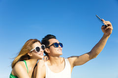 Young couple  taking vacation selfie photograph Royalty Free Stock Photo
