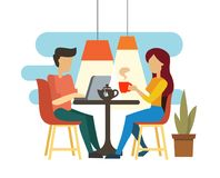 Young couple talking and drinking tea. In cafe Stock Photo