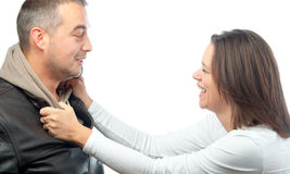 Young couple talking, laughing and joking Royalty Free Stock Image