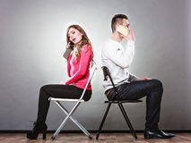 Young couple talking on mobile phones. Stock Photography