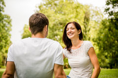 Young couple talking outdoor Royalty Free Stock Photography