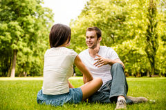 Young couple talking outdoor Stock Photos