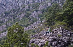 Young couple talking in wilderness. Young couple in wilderness with matching green tones. Tasmania, Australia Royalty Free Stock Image