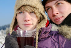 Young couple with tea royalty free stock photo