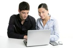 Young couple teamwork cooperation with laptop Stock Image