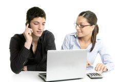 Young couple teamwork cooperation with laptop Stock Photos