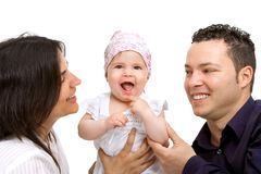 Young couple with their baby daughter. Stock Photo