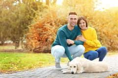 Young couple with their dog. In park Stock Images