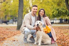 Young couple with their dog. In park Stock Photo