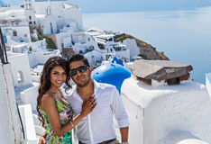 Young couple on their honeymoon. In Santorini, Greece Stock Image